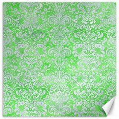 Damask2 White Marble & Green Watercolor Canvas 12  X 12