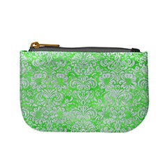 Damask2 White Marble & Green Watercolor Mini Coin Purses