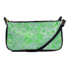 Damask2 White Marble & Green Watercolor Shoulder Clutch Bags