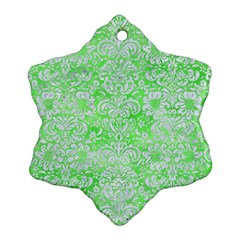 Damask2 White Marble & Green Watercolor Ornament (snowflake)