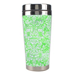 Damask2 White Marble & Green Watercolor Stainless Steel Travel Tumblers