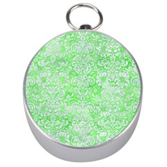 Damask2 White Marble & Green Watercolor Silver Compasses