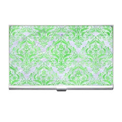 Damask1 White Marble & Green Watercolor (r) Business Card Holders