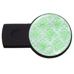 Damask1 White Marble & Green Watercolor (r) Usb Flash Drive Round (4 Gb)