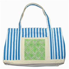 Damask1 White Marble & Green Watercolor (r) Striped Blue Tote Bag