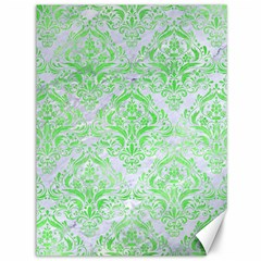 Damask1 White Marble & Green Watercolor (r) Canvas 36  X 48