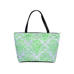 Damask1 White Marble & Green Watercolor (r) Shoulder Handbags
