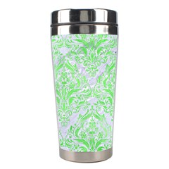 Damask1 White Marble & Green Watercolor (r) Stainless Steel Travel Tumblers