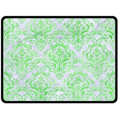 Damask1 White Marble & Green Watercolor (r) Double Sided Fleece Blanket (large)