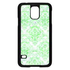 Damask1 White Marble & Green Watercolor (r) Samsung Galaxy S5 Case (black)