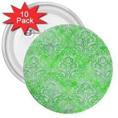Damask1 White Marble & Green Watercolor 3  Buttons (10 Pack)