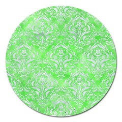 Damask1 White Marble & Green Watercolor Magnet 5  (round)