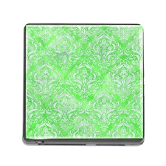Damask1 White Marble & Green Watercolor Memory Card Reader (square 5 Slot)