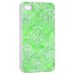 Damask1 White Marble & Green Watercolor Apple Iphone 4/4s Seamless Case (white)