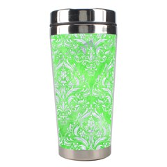 Damask1 White Marble & Green Watercolor Stainless Steel Travel Tumblers