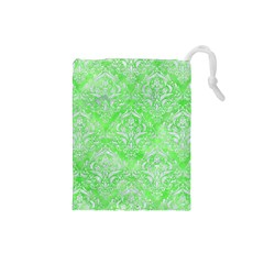 Damask1 White Marble & Green Watercolor Drawstring Pouches (small)
