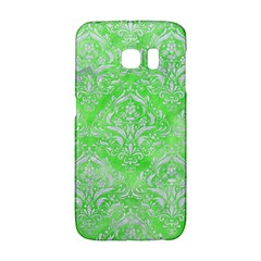 Damask1 White Marble & Green Watercolor Samsung Galaxy S6 Edge Hardshell Case