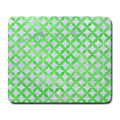 Circles3 White Marble & Green Watercolor (r) Large Mousepads