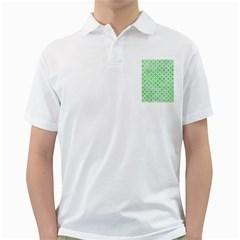 Circles3 White Marble & Green Watercolor Golf Shirts