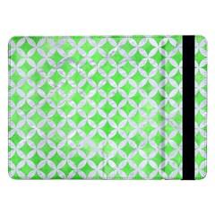 Circles3 White Marble & Green Watercolor Samsung Galaxy Tab Pro 12 2  Flip Case