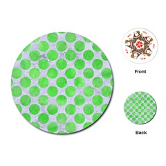Circles2 White Marble & Green Watercolor (r) Playing Cards (round)