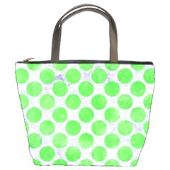 Circles2 White Marble & Green Watercolor (r) Bucket Bags