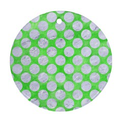 Circles2 White Marble & Green Watercolor Ornament (round)
