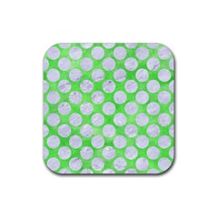 Circles2 White Marble & Green Watercolor Rubber Coaster (square)