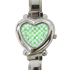 Circles2 White Marble & Green Watercolor Heart Italian Charm Watch