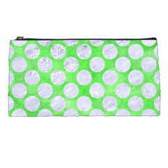 Circles2 White Marble & Green Watercolor Pencil Cases by trendistuff