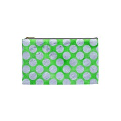 Circles2 White Marble & Green Watercolor Cosmetic Bag (small)
