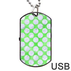 Circles2 White Marble & Green Watercolor Dog Tag Usb Flash (one Side)