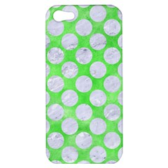 Circles2 White Marble & Green Watercolor Apple Iphone 5 Hardshell Case