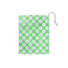 Circles2 White Marble & Green Watercolor Drawstring Pouches (small)