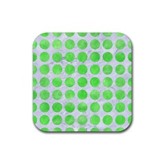 Circles1 White Marble & Green Watercolor (r) Rubber Square Coaster (4 Pack)