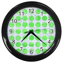 Circles1 White Marble & Green Watercolor (r) Wall Clock (black)