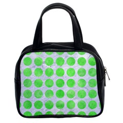 Circles1 White Marble & Green Watercolor (r) Classic Handbags (2 Sides)