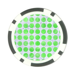 Circles1 White Marble & Green Watercolor (r) Poker Chip Card Guard (10 Pack)