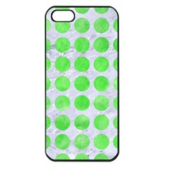 Circles1 White Marble & Green Watercolor (r) Apple Iphone 5 Seamless Case (black)