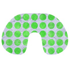 Circles1 White Marble & Green Watercolor (r) Travel Neck Pillows