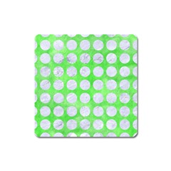 Circles1 White Marble & Green Watercolor Square Magnet