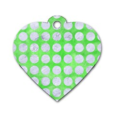 Circles1 White Marble & Green Watercolor Dog Tag Heart (two Sides)