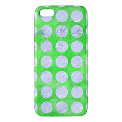 Circles1 White Marble & Green Watercolor Apple Iphone 5 Premium Hardshell Case