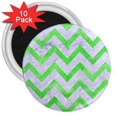 Chevron9 White Marble & Green Watercolor (r) 3  Magnets (10 Pack)