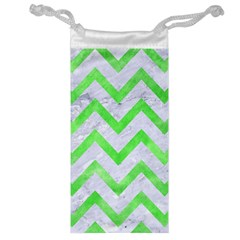 Chevron9 White Marble & Green Watercolor (r) Jewelry Bags