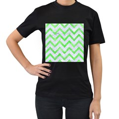 Chevron9 White Marble & Green Watercolor (r) Women s T Shirt (black)