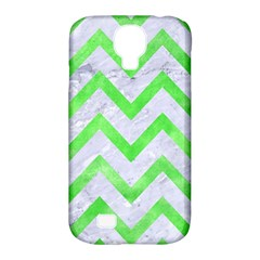 Chevron9 White Marble & Green Watercolor (r) Samsung Galaxy S4 Classic Hardshell Case (pc+silicone)