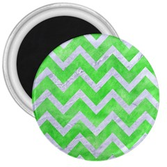 Chevron9 White Marble & Green Watercolor 3  Magnets