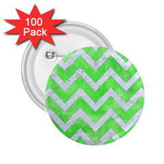 Chevron9 White Marble & Green Watercolor 2 25  Buttons (100 Pack)