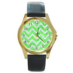 Chevron9 White Marble & Green Watercolor Round Gold Metal Watch